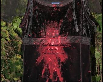 VAMPIRE DRESS Devil Dress Dia de los Muertos Vampire Costume Hand Painted Bloody Black Dress Size XS Devil Dress by SweetDarknessDesigns