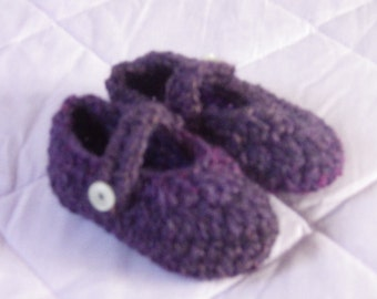 Crochet Purple Baby Mary Jane Shoes