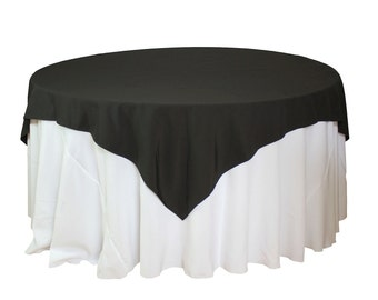 Black Table Overlays 72 x 72 inches, Square Black Tablecloths, Matte Table Overlays for 5 FT Round Tables | Wholesale Table Linens