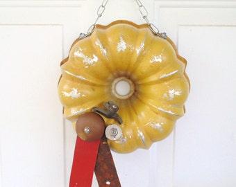 OOAK Repurposed Vintage Bundt Pan Wreath Wall Hanging Room Decor Repurposed Junk Recycle Upcycle Assemblage Art