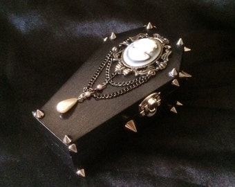 Black Coffin Box with Holographic Sparkles, Silver Spikes, and Silver Cross with Crystals