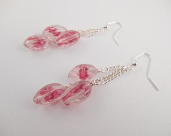 CLEARANCE Pink Swirl Earrings - Triple Glass Beaded Pink Swirl Dangle Earrings