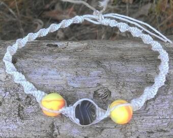 Natural Colored Spiral Hemp Macrame 11 Inch Anklet with Handmade Glow in the Dark Swirl Clay Beads / Heady Hemp / Hemp Anklet / Hippie boho
