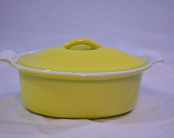 1950's Mini Descoware Enameled Cast Iron Dutch Oven*Bright Sunshine Yellow*Made in Belgium*