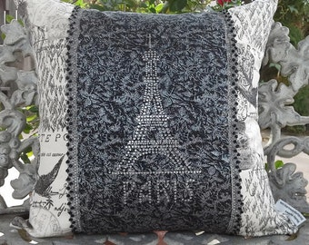 Shabby French black and white decorative pillow with crystal Paris design, French script pillow with rhinestone crystals, glam boudoir decor