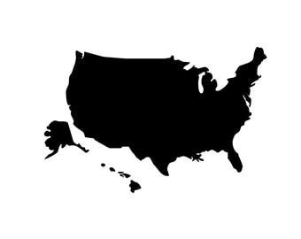 United States of America Silhouette - Di Cut Decal - Car/Truck/Phone/Computer/Home/Laptop Decal