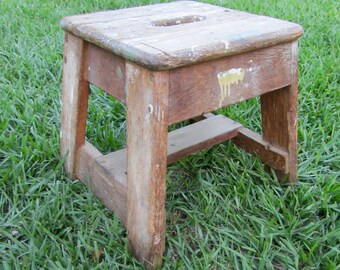 Vintage wooden stool / Wooden Chippy Paint Bench
