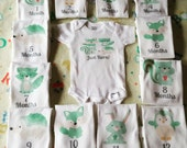 Month By Month Woodland design onesies-Racoon onesie-Fox onesie-Woodland theme-month to month onesies-baby fox theme