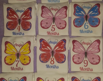Month By Month Personalized butterfly onesies