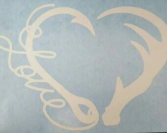 Antler Fishing Hook Heart Love Decal