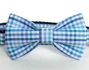 SALE Blue Seersucker Plaid Dog Collar Bow Tie set, pet bow tie, collar bow tie, wedding bow tie