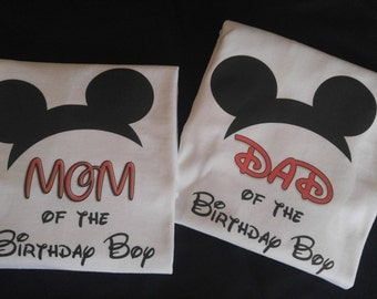 Mom and Dad of the Birthday Boy t-shirts - Mickey Mouse theme