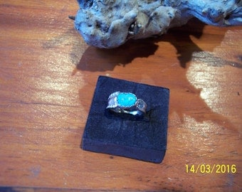 Antique Sterling Turquoise Spoon Ring.