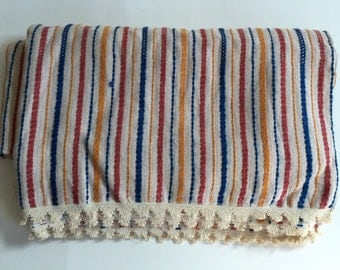Wool Linen BED Spread Blanket Woven Red Blue Yellow Stripes 104 x 90""