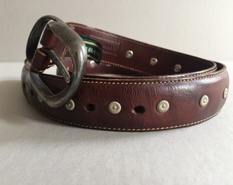 COLE HAAN Tan Leather Belt Metal Rosettes Deco Made in Italy Length Size 34 Vintage Accessory