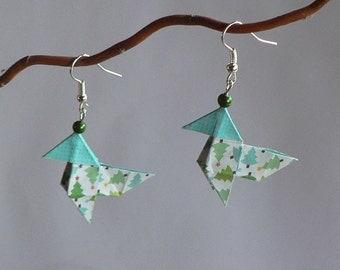 Boucles d'oreilles Origami Cocottes Papier Sapin de Noël.