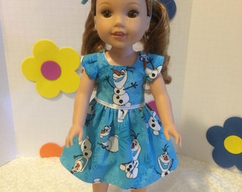 """Wellie Wishers Doll Clothes Olaf Dress + Matching Headband + Handmade felt shoes fits Wellie Wishers from American Girl 14.5"""""""