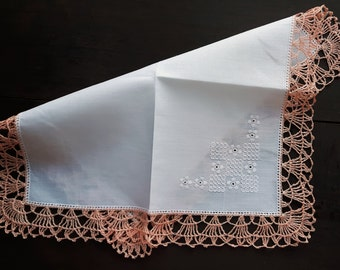 White cotton handkerchief with crocheted border
