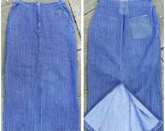 "size S/M Euro 38 Blue Willi's vintage 80s 90s look pinstriped denim long wiggle skirt, zip slit back / Danish / Waist 28""/71cm or 30""/76cm"