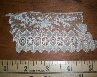 Hand done lace piece of exquisite lace Point de Gaze