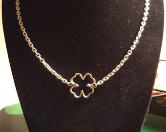 "16 1/2"" Sterling silver chain with Shamrock"