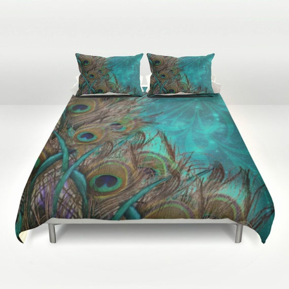 teal peacock duvet set peacock bedding teal by folkandfunky. Black Bedroom Furniture Sets. Home Design Ideas