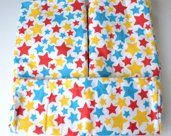 3 Piece Flannel Crib Sheet Set, Primary Colors Flannel Crib Sheet Set, Toddler Bedding,