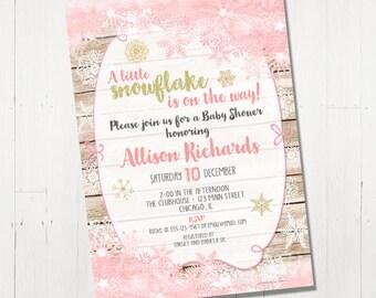 Winter Baby Shower Invitation, Snowflake Baby Shower Invitation, holiday Baby Shower Invite, pink and gold, Printable Baby Shower Invitation