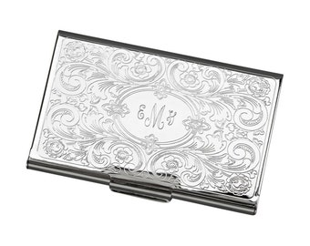 Personalized Business Card Case Embossed Silver Plated Business Card Case With Free Engraving