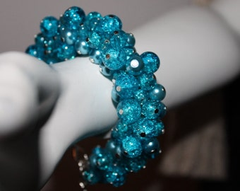 Pearl bracelet turquoise, Pearl Jewelry Turquoise, Beads Bracelet turquoise