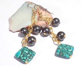 gold earrings, long dangly earrings, green mosaic earrings, green and gold earrings