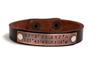 Coordinates Bracelet, Latitude Longitude Bracelet, Men Leather Bracelet, Custom Leather Bracelet, Cuff Bracelet