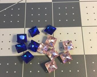 0.8cm by 0.8cm Pink&Blue  Square Rhinestone