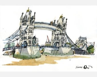 Tower Bridge - A2 limited edition signed giclée print by James Oses