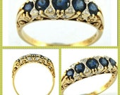 Sapphires and Diamond Vintage Style Ring, 5  Natural Blue Australian Sapphires, Carved 9K Gold Eternity Ring