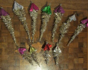 11 pc antique tinsel & tin foil christmas ornaments, 11 pc, authentic old, good condition!!