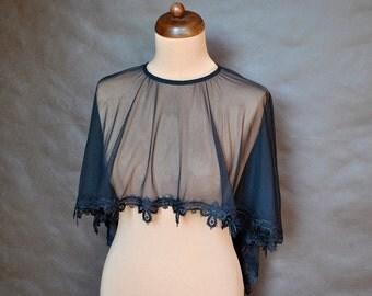 Elegant romantic, Lolita black tulle CAPE Gothic Victorian, Burlesque, delicate tulle and guipure, bolero, festivals, prom, festivals, dress