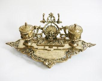 antique bronze inkwell, signé Crokaert, années 1800, orner encrier double décor antique, accessoires de bureau, décor de bureau, fabriqué en Belgique