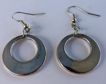 Silver Ring Earrings / Handmade Ring Dangle Earrings