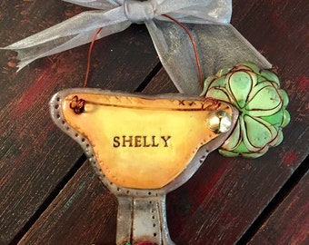 Custom Personalized Margarita Glass Polymer Clay Ornament With Fruit