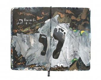 "Fine Art Print - Original Landscape Painting from Artist Travel Journal - ""Footprints on River Rock"""