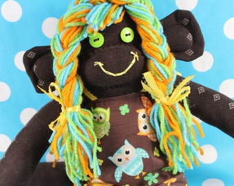 Sock Monkey / Chocolate Brown / Owl Dress / Brown Green Orange Turquoise Yellow / Owls / Pigtails / Nursery Decor / Baby Shower Gift