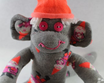 Sock Monkey / Gnomes Throwing Snowballs / Grey Pink Orange White / Christmas / Gnome / Holiday Decoration / Holiday Gift / Unique Gift