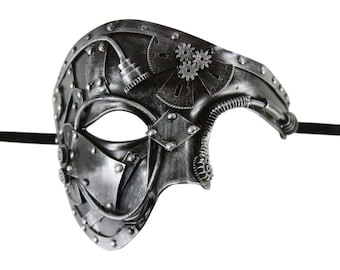 Rusty Silver Steampunk Masquerade Mask with Gears Terminator End of Days Style. SPM006SL