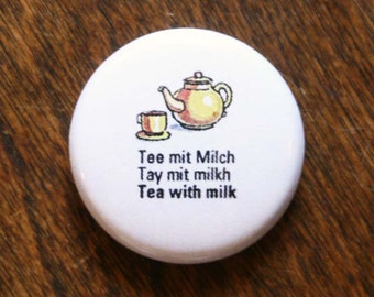 "Yellow Teapot Mini Button - Cute Teapot 1"" Pinback Button - German ""Tea with milk"" illustrated mini button from Vintage German Phrasebook"