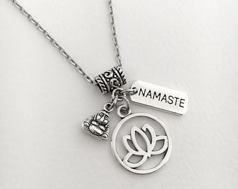 Lotus flower necklace/Yoga jewelry/zen jewelry/Om necklace/spiritual jewelry/ohm/ meditation/yoga/Namaste necklace/lotus flower jewelry