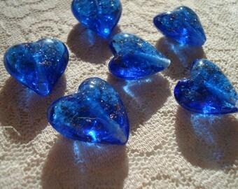 20mm Big Blue, Solid, Gold-Sand Lampwork Hearts 8pc Medium-Deep Cobalt Glass with Gold-Sand Sparkles. 20x19x9mm Handmade Beads. Center Hole.