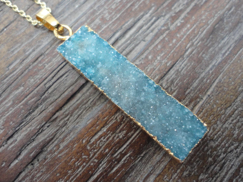 Blue Druzy Agate Bar Pendant Gold Necklace/Aqua Druzy Agate/Watercolor Blues