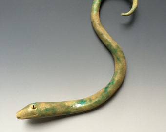 handmade ceramic clay serpent snake wall art sculpture