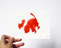 Goldfish Watercolor Red and White Fish Original Painting 5x7